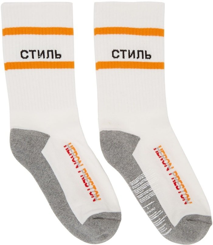 Heron Preston White 'CTNMB' Socks