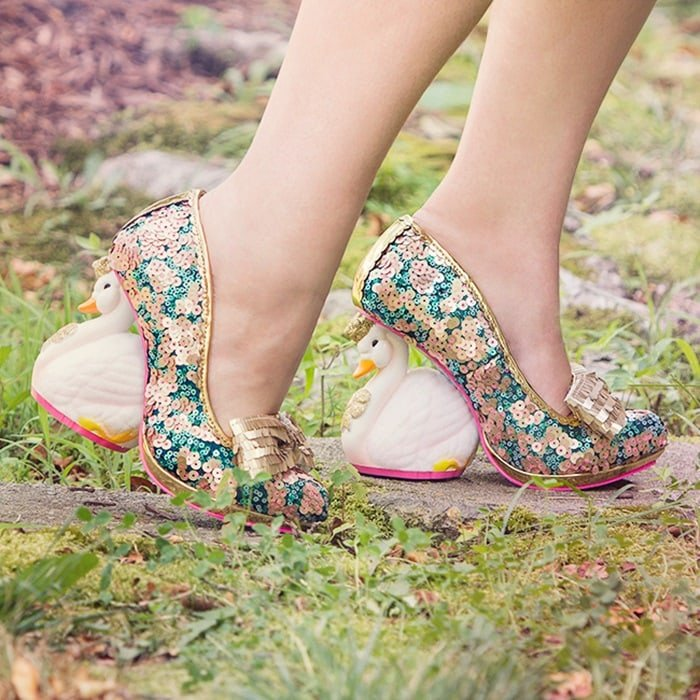 Irregular Choice 'Savan' Swan Heels in Teal