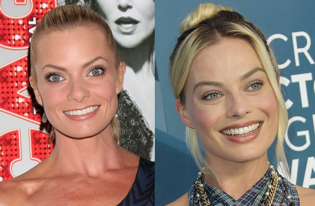 Jaime Pressly (L) and lookalike actress Margot Robbie (R) smiling