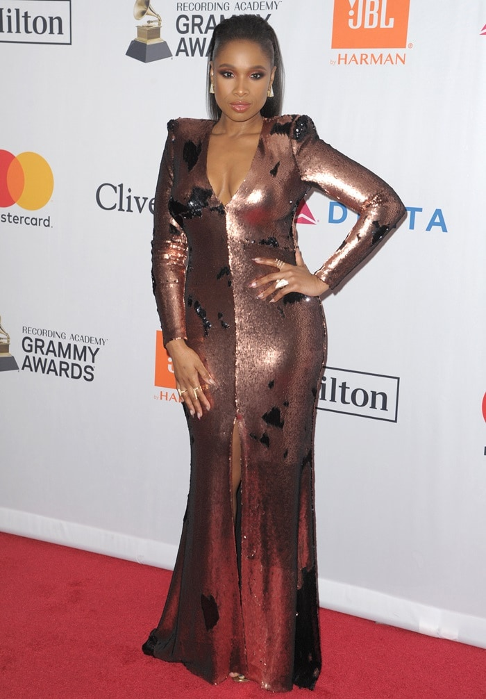 Jennifer Hudson on the red carpet as she arrives at Clive Davis' annual Pre-Grammys Party in New York City on January 27, 2018