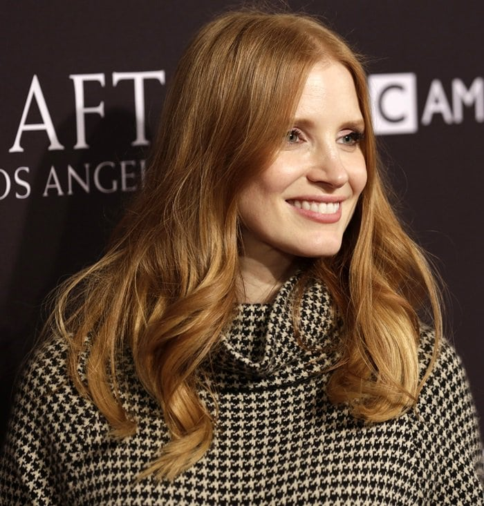Jessica Chastain wearing Ralph Lauren for the BAFTA Tea Party at the Four Seasons Hotel in Los Angeles on January 6, 2018