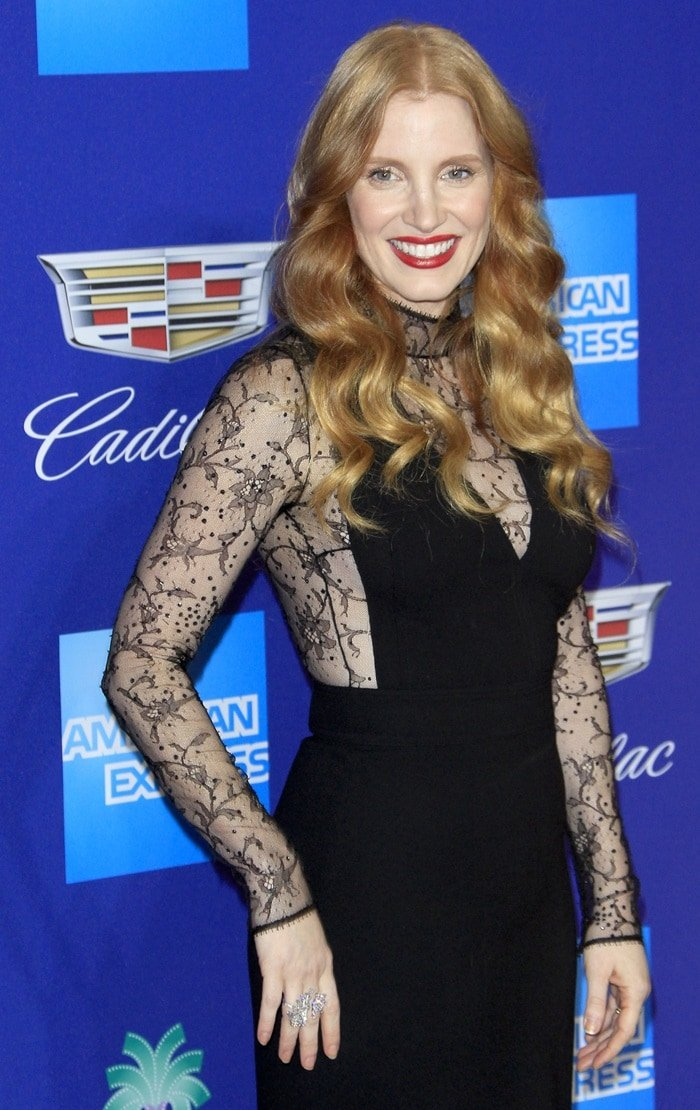 Jessica Chastain wearing a lace Givenchy dress for the 2018 Palm Springs International Film Festival Awards Gala in Palm Springs, California, on January 2, 2018
