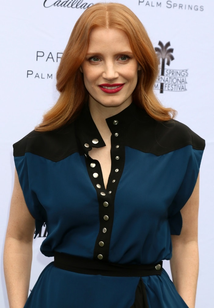 Jessica Chastain wearing Givenchy while attending Variety's Creative Impact Awards to help honor her Molly's Game director Aaron Sorkin with the Creative Impact in Writing at Parker Palm Springs in Palm Springs, California, on January 3, 2018