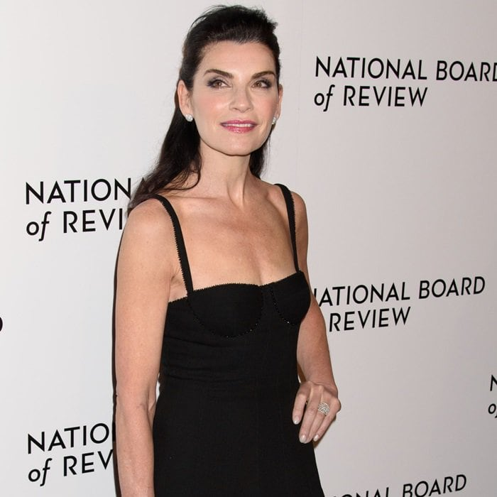 Julianna Margulies wearing a Thom Browne Resort 2018 dress at the 2018 National Board of Review Awards Gala at Cipriani 42nd Street in New York City on January 9, 2018