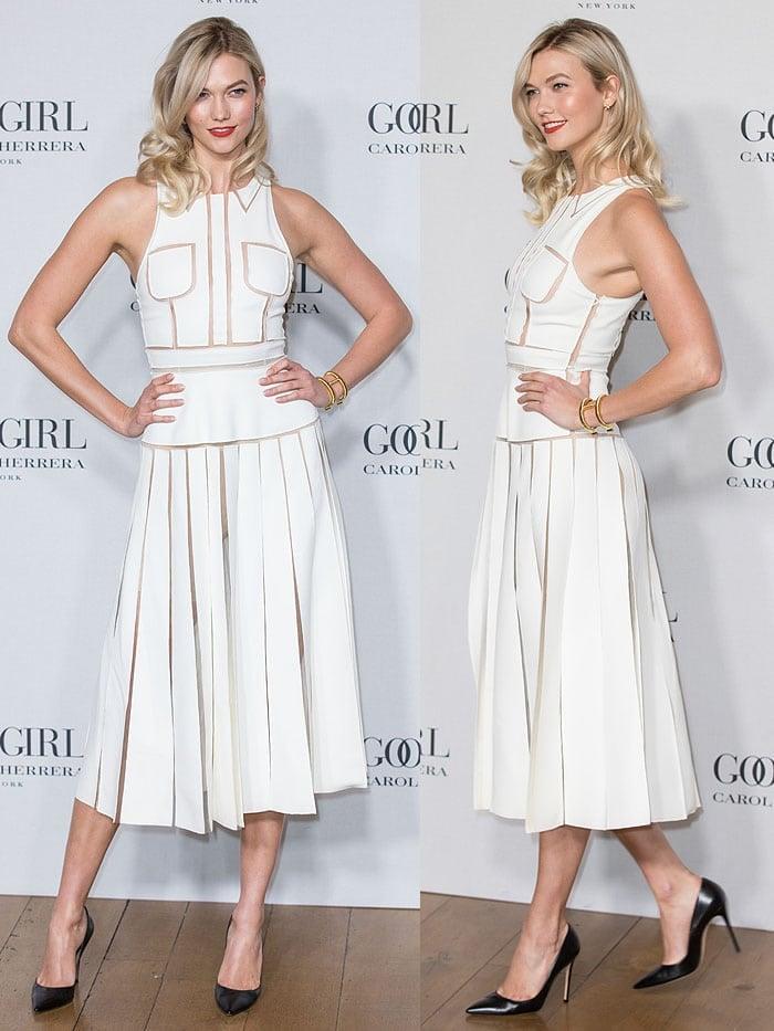 Karlie Kloss' shoes resemble the Good Girl perfume bottle