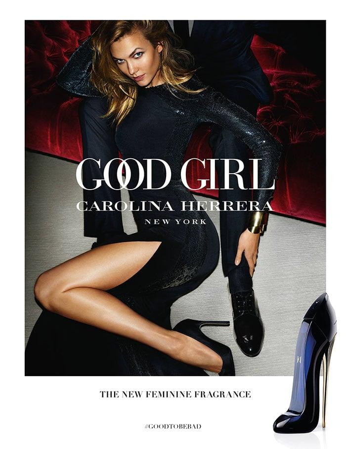 Karlie Kloss modeling in the ad for the new Carolina Herrera fragrance