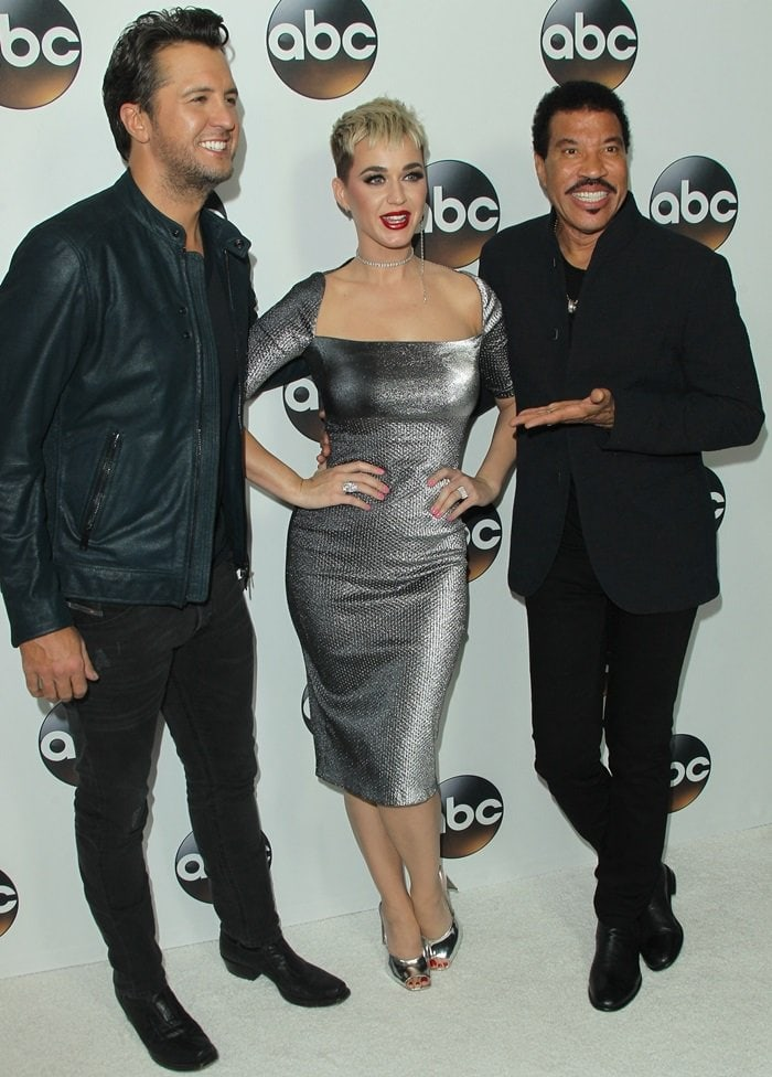 Luke Bryan, Katy Perry, and Lionel Richie posing at the 2018 Disney ABC Winter TCA Press Tour Party in Pasadena, California, on January 8, 2017