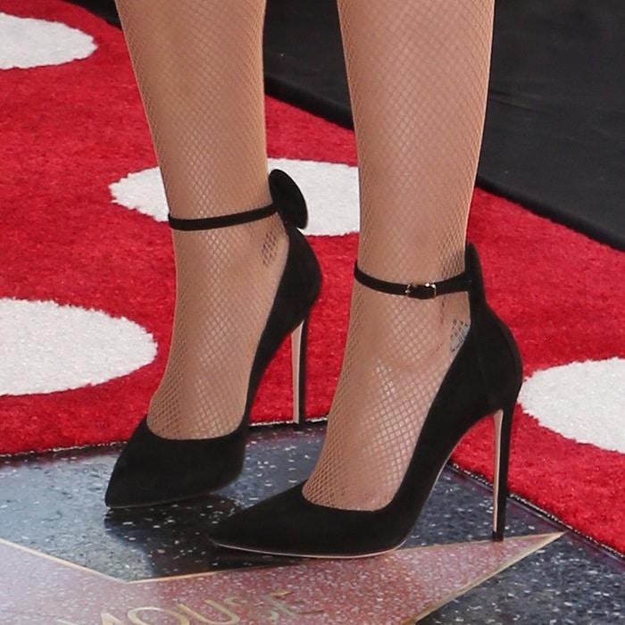 Katy Perry back suede 'Minnie ear heels from Oscar Tiye
