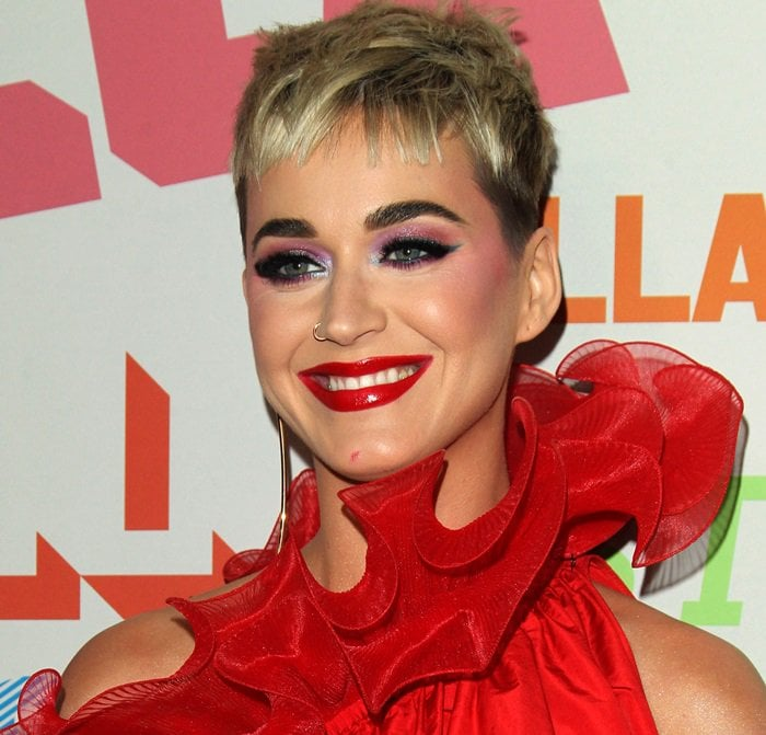 Katy Perry showing off her cartoonish makeup