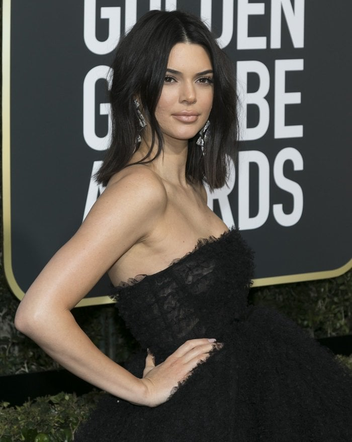 Kendall Jenner wearing a frothy, tulle gown by Giambattista Valli at the 2018 Golden Globe Awards held at the Beverly Hilton Hotel in Beverly Hills, California, on January 7, 2018