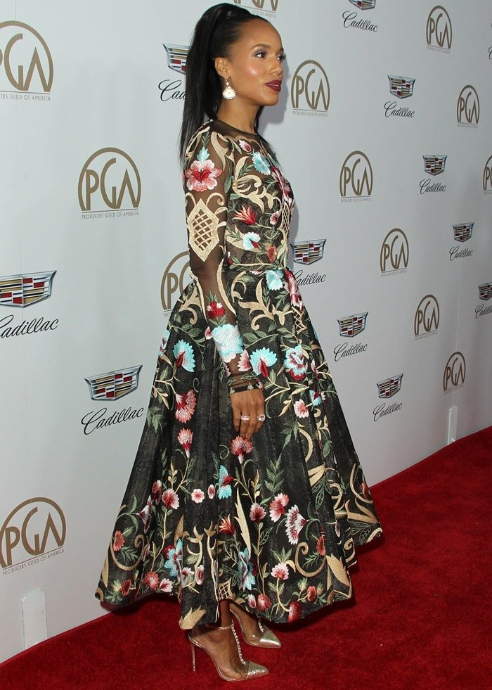 Kerry Washington styled her pointy-toe heels with a floral-embroidered gown