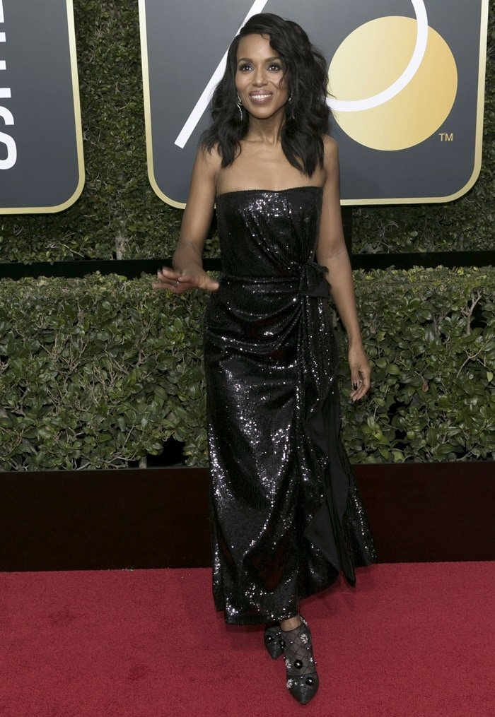 Kerry Washington wearing a Prabal Gurung gown at the 2018 Golden Globe Awards held at the Beverly Hilton Hotel in Beverly Hills, California, on January 7, 2018