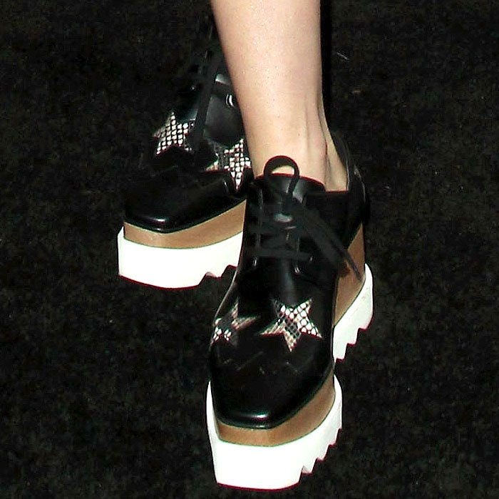 """Kiernan Shipka's Stella McCartney """"Elyse"""" platform oxfords with faux-python star cutouts"""