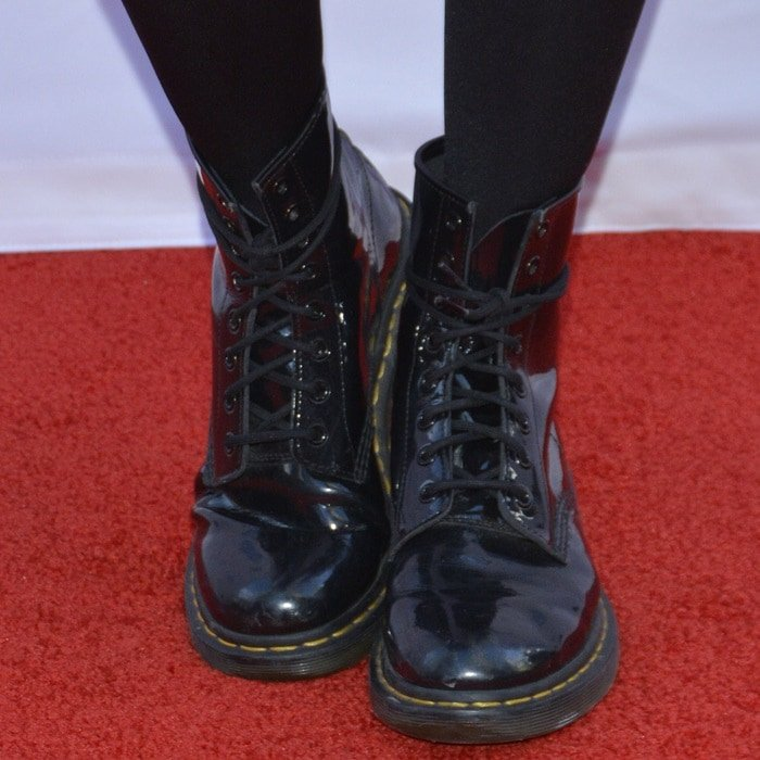 Kiesa Rae Ellestad, known professionally as Kiesza, showing off her laced Dr. Martens boots while attending WE Day Toronto at the Air Canada Centre on October 1, 2015