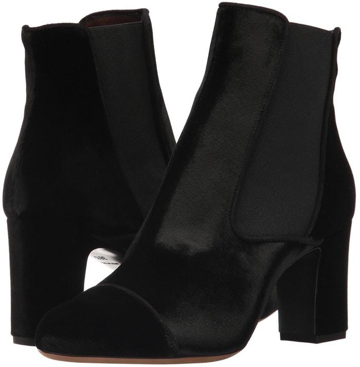 Black velvet 'Kiki' 75 ankle boots