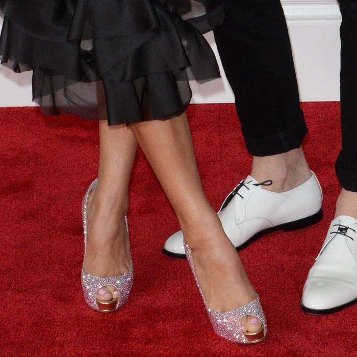 Kirstin Maldonado wearing peep-toe 'New Very Prive' pumps from Christian Louboutin