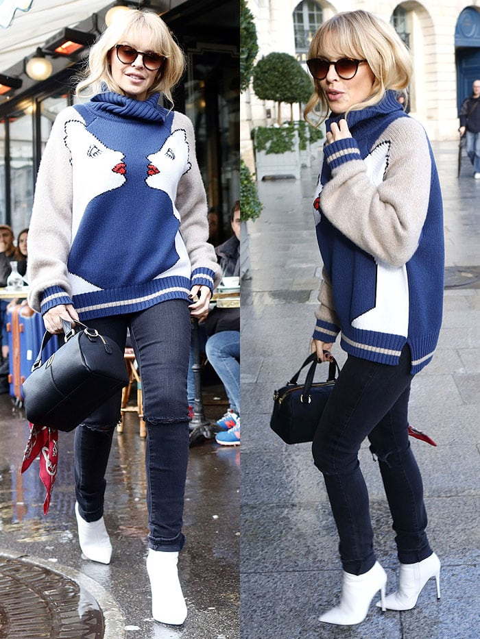 Kylie Minogue leaving after having lunch at Café de Flore in Paris, France, on January 22, 2018.