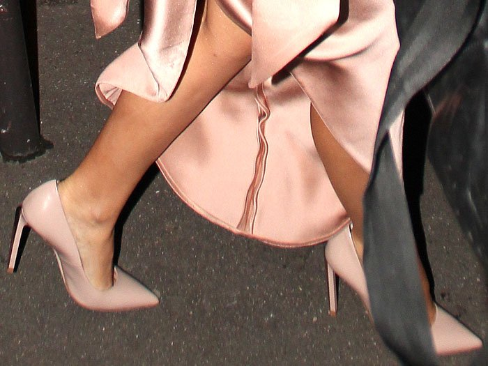 Kylie Minogue's Ralph & Russo 'Empire' nude patent pumps with metal bars on the heels up close.