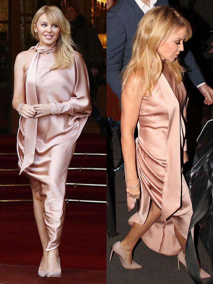 Kylie Minogue heading to the Ralph & Russo Spring/Summer 2018 Couture fashion show as she leaves the Ritz Hotel in Paris, France, on January 22, 2018.