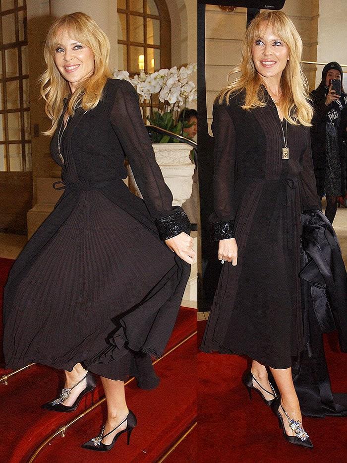 Kylie Minogue arriving at theSchiaparelliSpring/Summer 2018 fashion show held duringParis Fashion Week in Paris, France, on January 22, 2018.