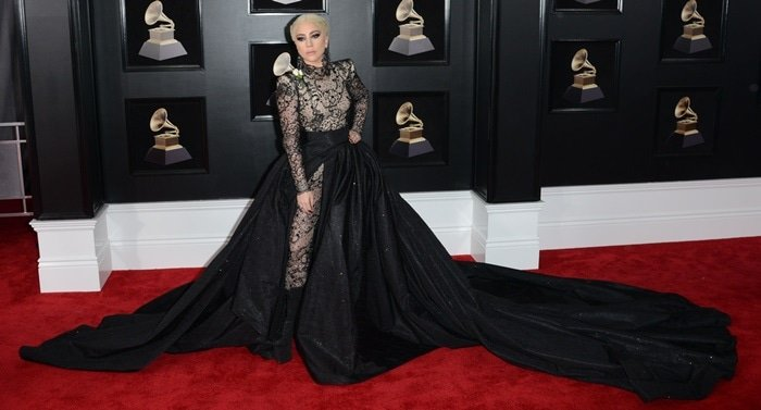 Lady Gaga wearing a custom Armani Privé hybrid gown at the 2018 Grammy Awards held at Madison Square Garden in New York City on January 28, 2018