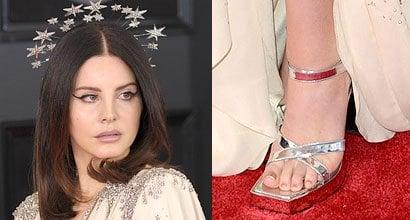 ac3696db3 Lana Del Rey Rocks Star-Spangled Halo and Too-Big Gucci Shoes