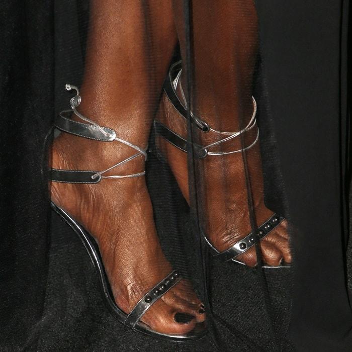 Laverne Cox wearing custom 'Elizabeth' heels from Ruthie Davis