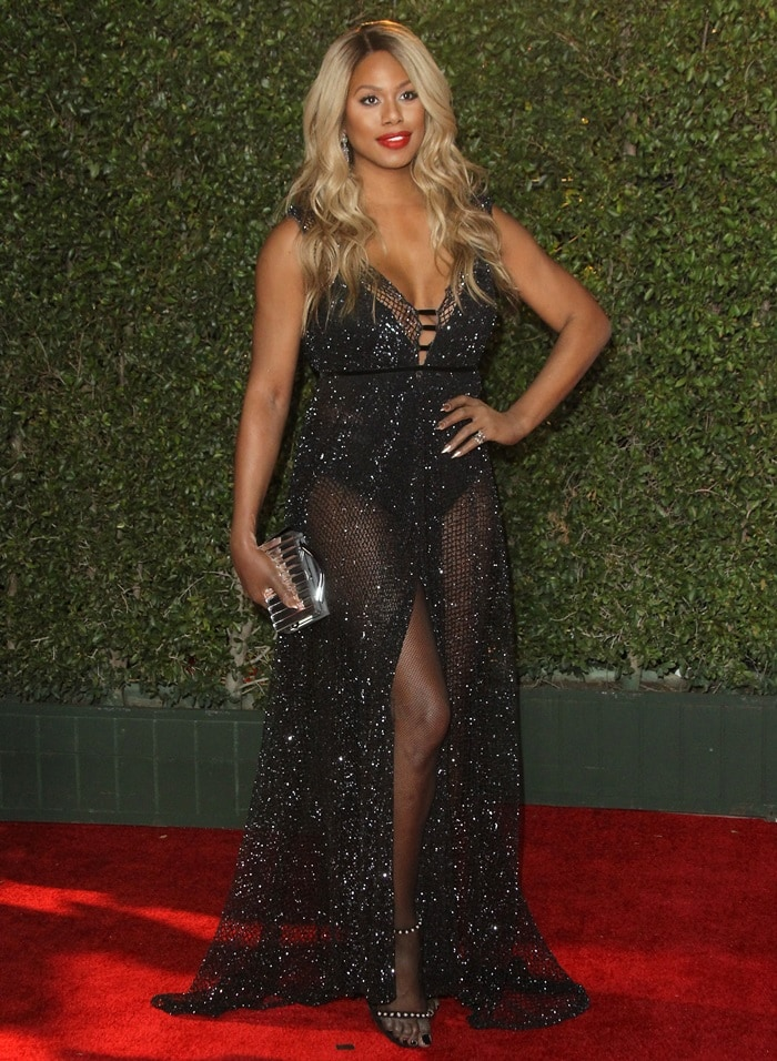 Laverne Cox in a sparkling see-through Abyss by Abby dress at the 2018 NAACP Image Awards at the Pasadena Civic Auditorium in Pasadena, California, on January 15, 2018