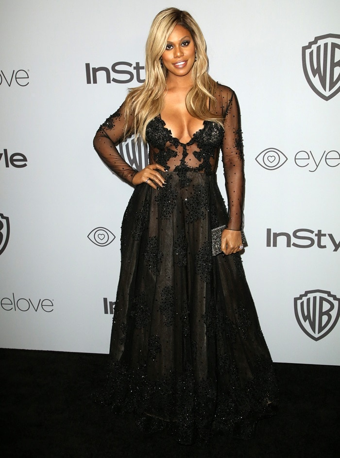 Laverne Cox wearing a custom Stella Nolasco gown at the InStyle & Warner Bros. Party following the 2018 Golden Globe Awards held at the Beverly Hilton Hotel in Beverly Hills, California, on January 7, 2018