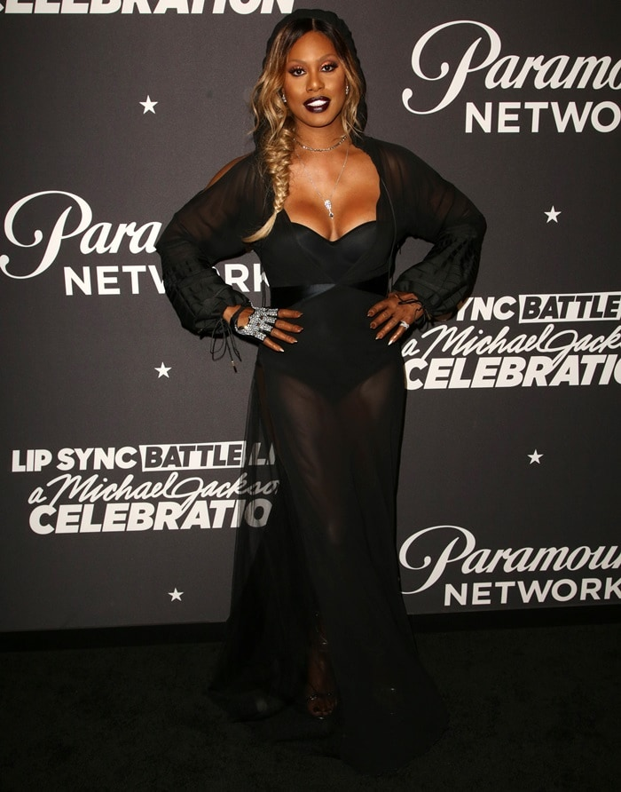 Laverne Cox in a vampy black dress from Cristiano Burani at the Lip Sync Battle LIVE: A Michael Jackson Celebration event in Hollywood, California, on January 18, 2018