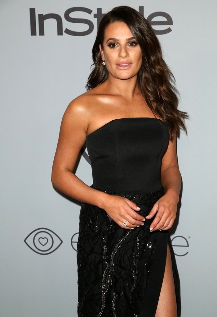 Lea Michele in a strapless sequin gown from Christian Siriano at the InStyle and Warner Bros. Party held after the 2018 Golden Globe Awards at the Beverly Hilton Hotel in Beverly Hills, California, on January 7, 2018