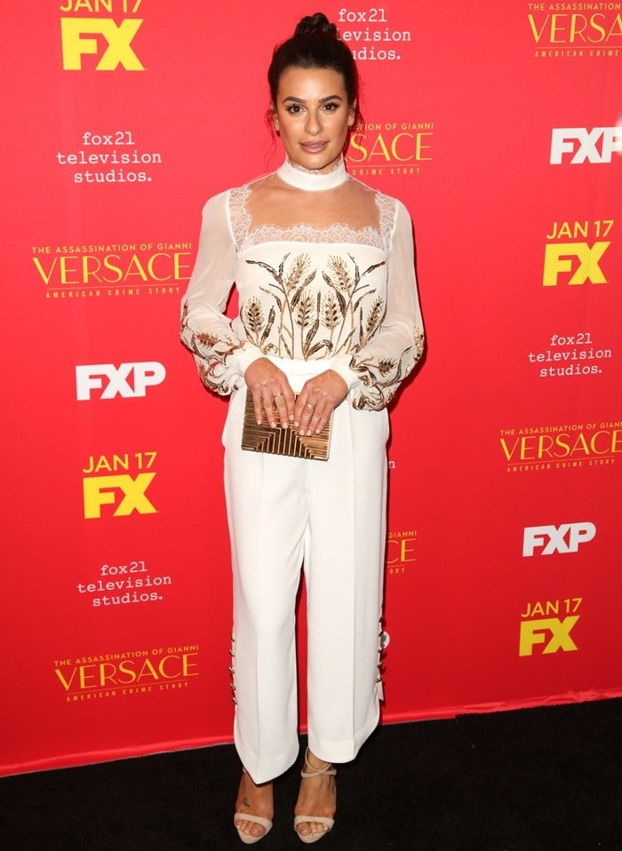 Lea Michele wearing a romantic Elisabetta Franchi Spring 2018 jumpsuit
