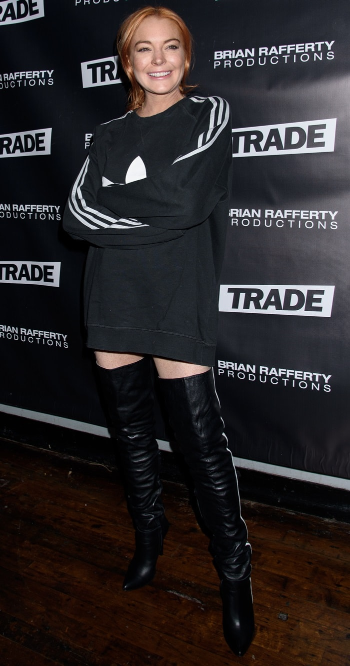 Lindsay Lohan wore racy thigh high boots to co-host an LGBTQ Super Trade Party held at Schimanski in Brooklyn, New York, on January 14, 2018