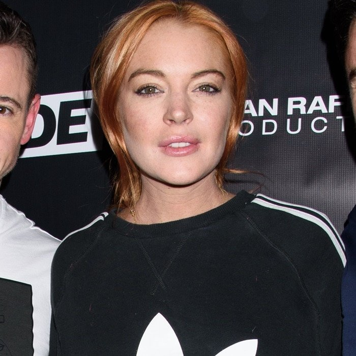 Lindsay Lohan wore an oversized Adidas Original sweatshirt to co-host an LGBTQ Super Trade Party held at Schimanski in Brooklyn, New York, on January 14, 2018