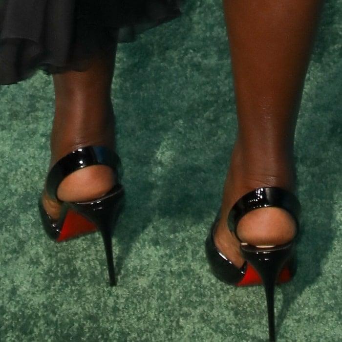 "Lupita Nyong'o's feet inChristian Louboutin ""Actina"" sculptural slingback pumps"