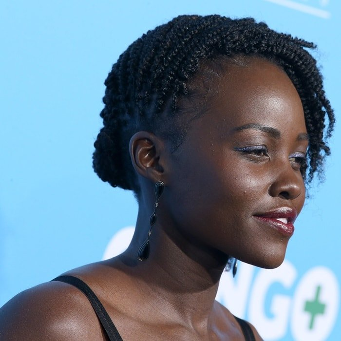 Lupita Nyong'o sported a Black Panther-inspired head full of side-swept flat twists