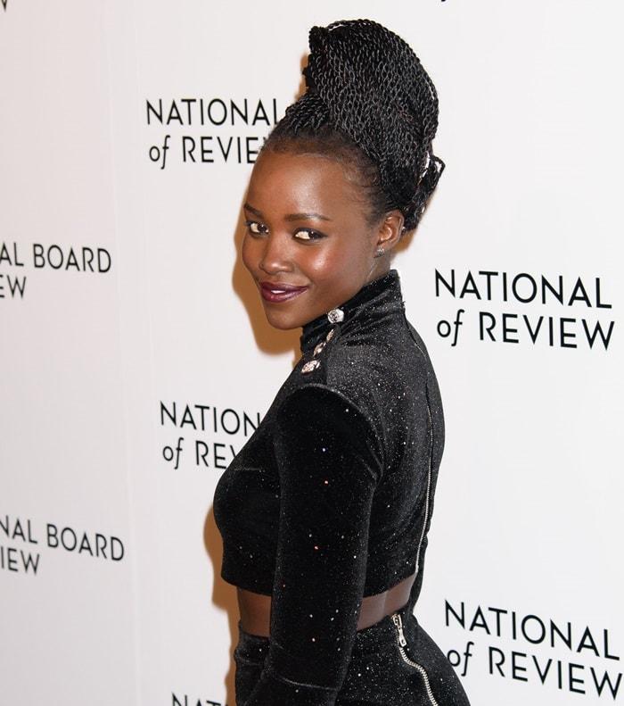 Lupita Nyong'o wearing Balmain Pre-Fall 2018 separates at the 2018 National Board of Review Awards Gala at Cipriani 42nd Street in New York City on January 9, 2018