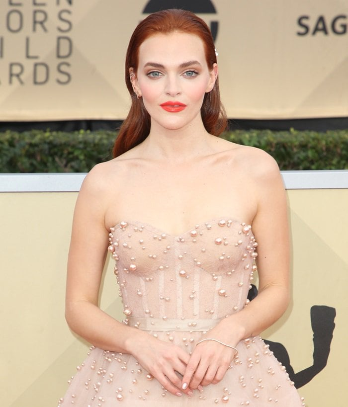 Madeline Brewer opted to wear a favorite from the Reem Acra Pre-Fall 2018 collection
