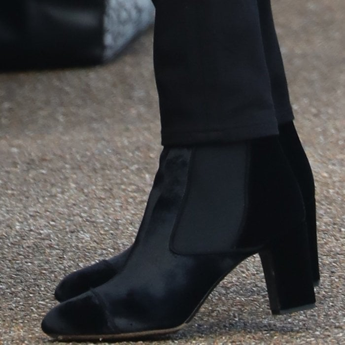 Meghan Markle wearing 'Kiki' ankle boots from Tabitha Simmons