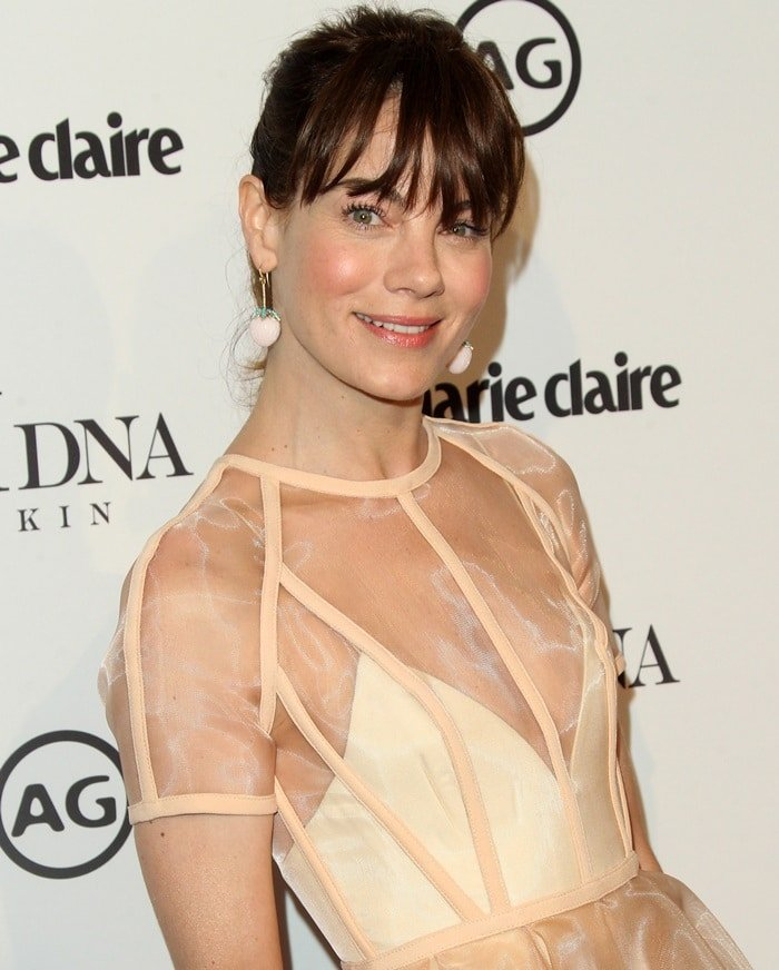 Michelle Monaghan wearing a beige Alex Perry dress at the 2018 Marie Claire's Image Makers Awards in Los Angeles on January 11, 2018