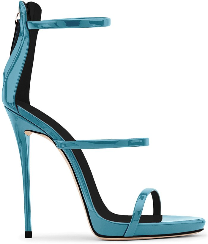 Mirrored blue patent sandal with three straps