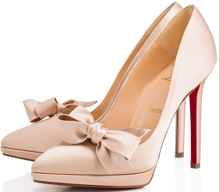 70f572b06f75 ... signature Christian Louboutin icon dressed up in nu crepe satin. Nu  Crepe Satin  Miss Pigalle  Bridal Pumps