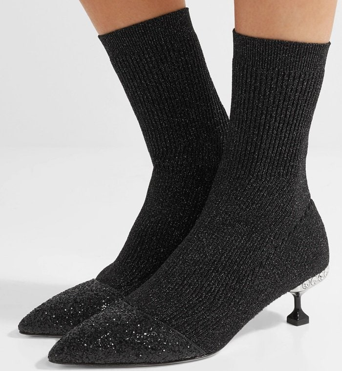 Miu Miu Glittered metallic ribbed-knit sock ankle boots