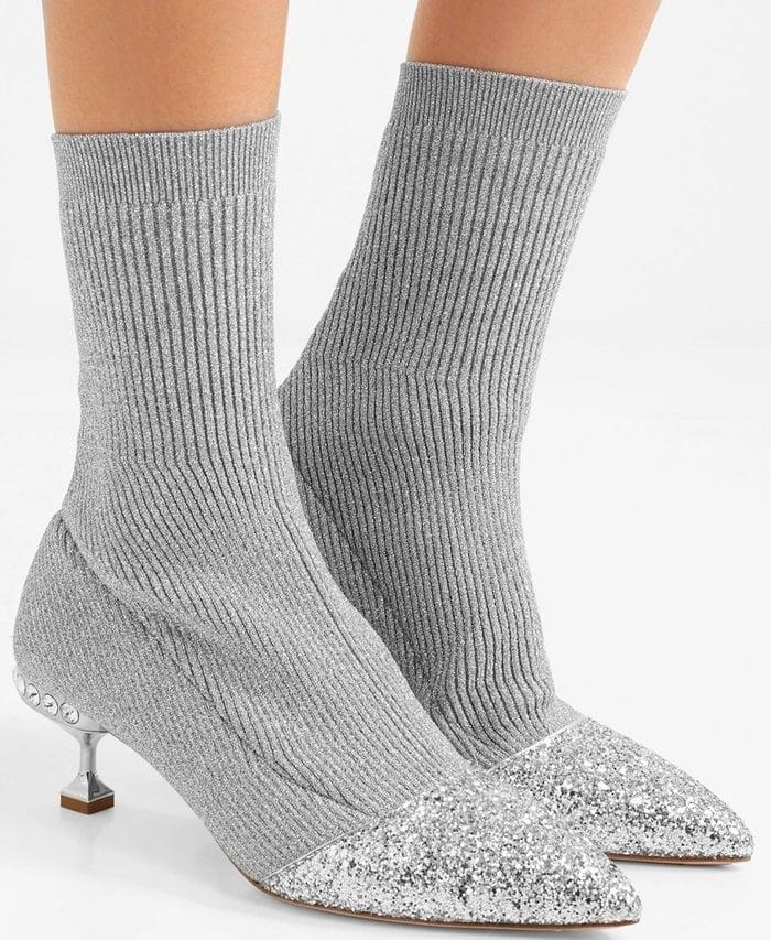 Miu Miu Glittered metallic ribbed-knit sock ankle boots