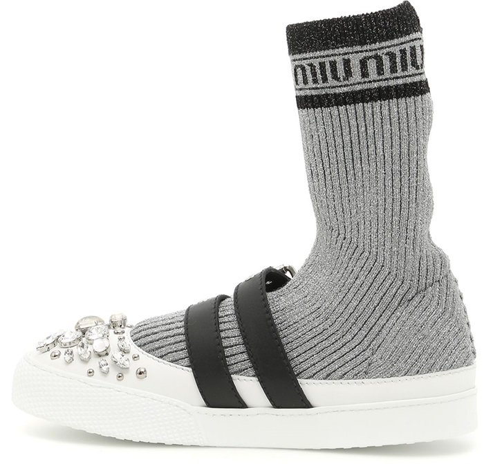 Miu Miu Lurex knit hi-top sneakers
