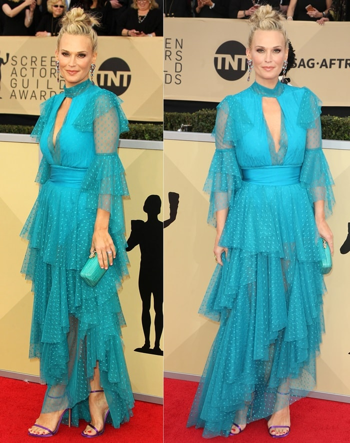 We love these shoes on Molly Sims, but have to wish her dress didn't look so crazy