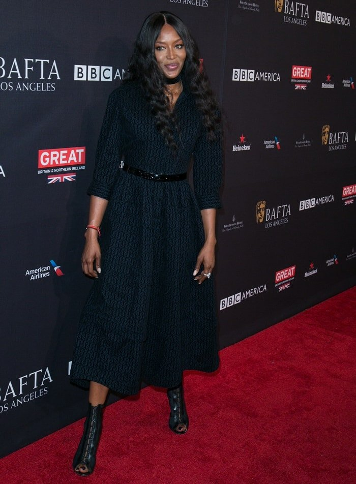 Naomi Campbell wearing a black Azzedine Alaïa dress for the BAFTA Tea Party at the Four Seasons Hotel in Los Angeles on January 6, 2018