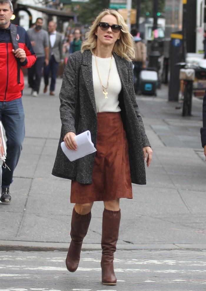 Naomi Watts filming the Netflix psychological drama series 'Gypsy' in New York City