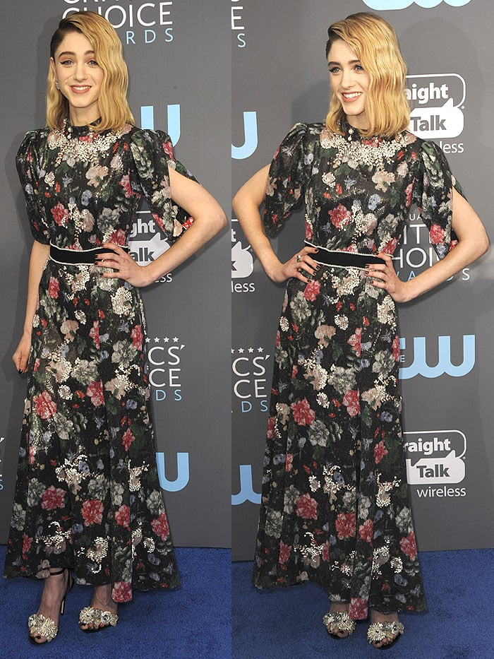 "Natalia Dyer walked the blue carpet at the 2018 Critics' Choice Awards in the crystal-flower-embellished version of the ""Lilico"" heels"
