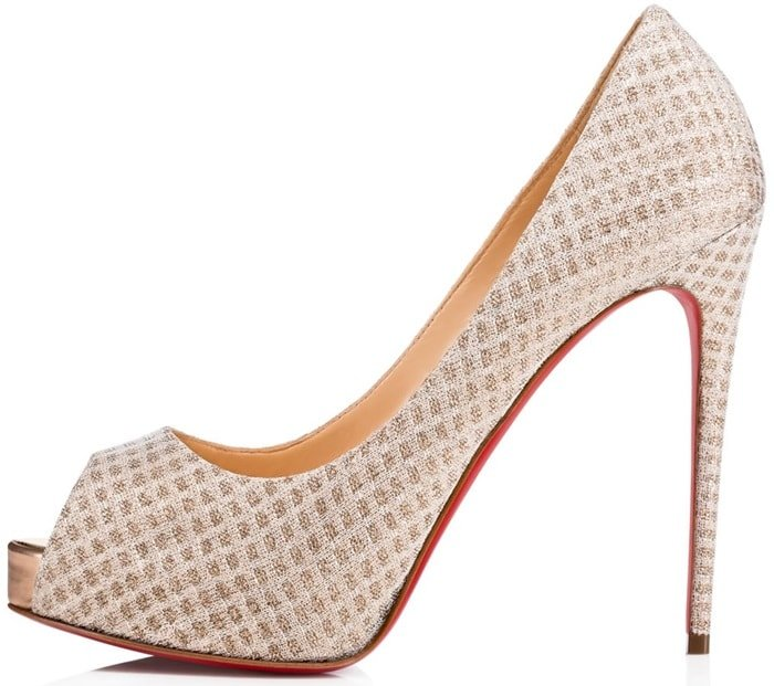 """In a nearly full covering of this season's gold metallic mesh, the alluring """"Very Rete"""" from Christian Louboutin epitomizes elegance"""